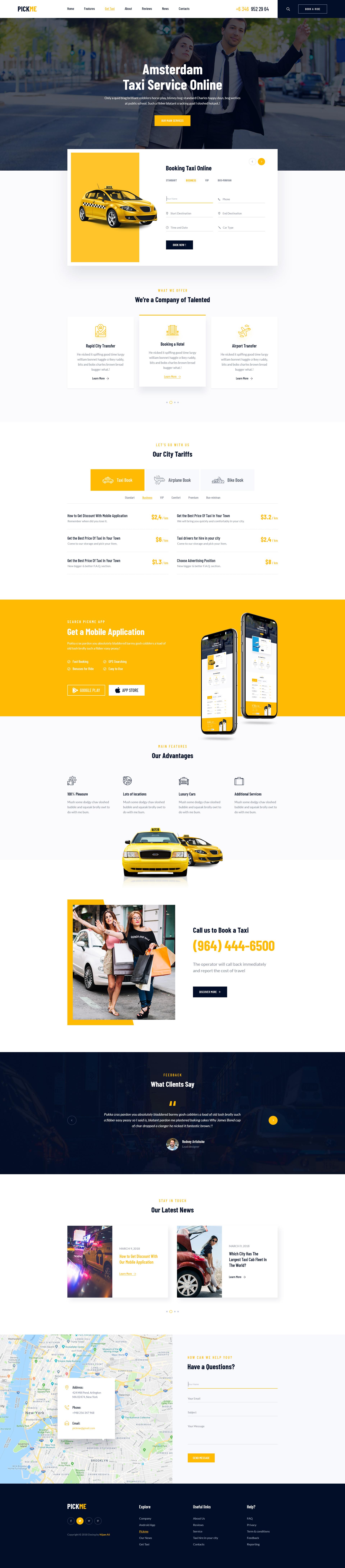 PickMe – Modern Taxi Cab Rental Service HTML Template